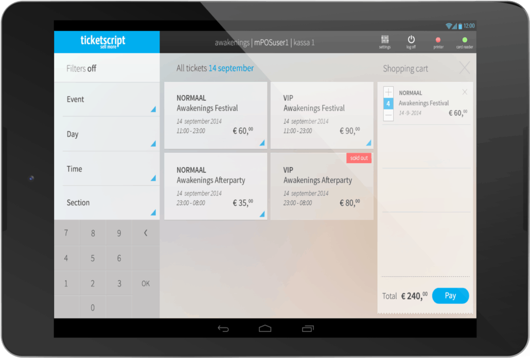 Ticketscript op Android Tablet